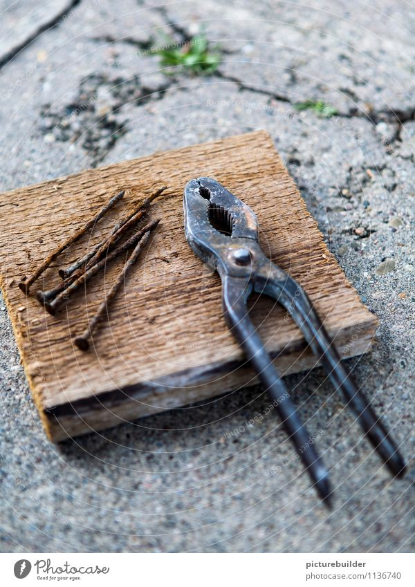 Old Wood Metal Concrete Construction site Wooden board Craft (trade) Tool Build Craftsperson Nail Home improvement Pair of pliers