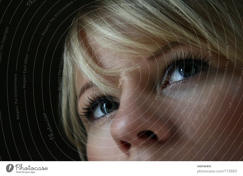 pretty pony ;o) Portrait photograph Dark Dark background Blonde Brilliant Think Woman Bangs Hair and hairstyles Eyes Nose Lighting Detail missing mouth