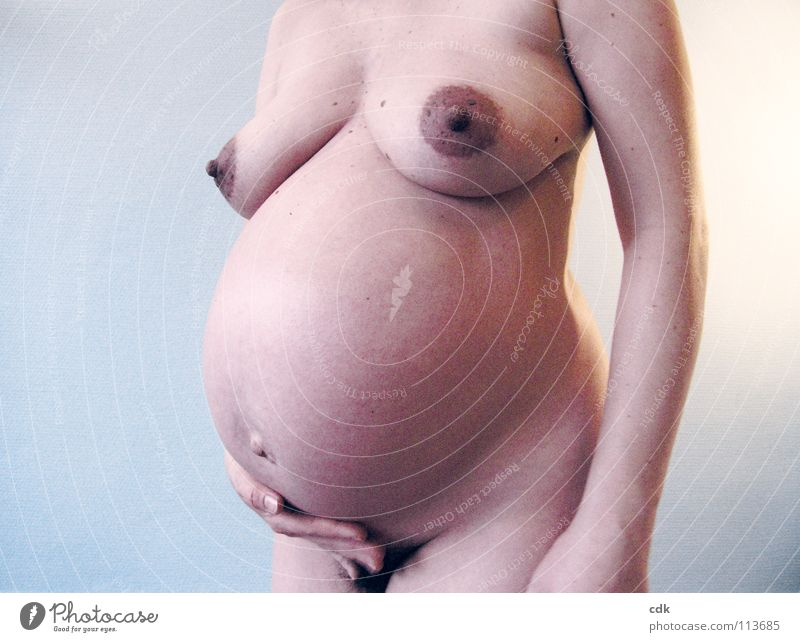 pregnant III Woman Naked Pregnant Feminine Baby bump Hand Posture Side Multiple Development Time Growth Occur Together Embryo Mother Round Visible Beautiful