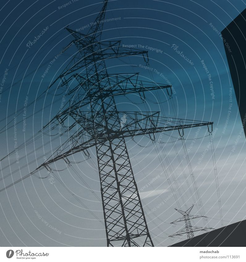 Sky Metal Power Energy industry Success Force Electricity Dangerous Might Threat Industrial Photography Construction Electronic Electric Danger of Life Sublime
