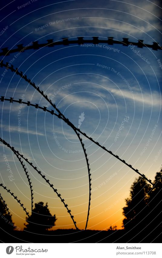 protect your property Sunset Sky Safety barbwire barbed wire razor wire clouds sundown Silhouette