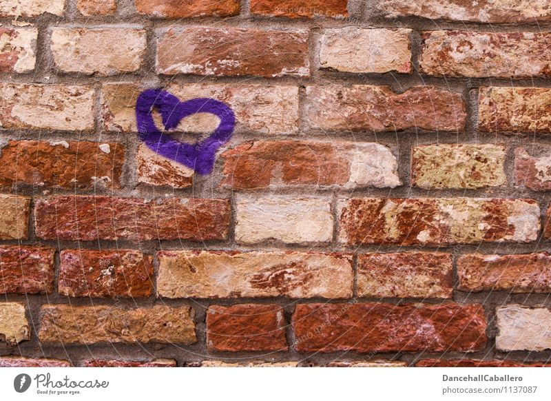 Heart from (f)s stone House (Residential Structure) Wall (barrier) Wall (building) Stone Sign Graffiti Violet Red Emotions Happy Contentment