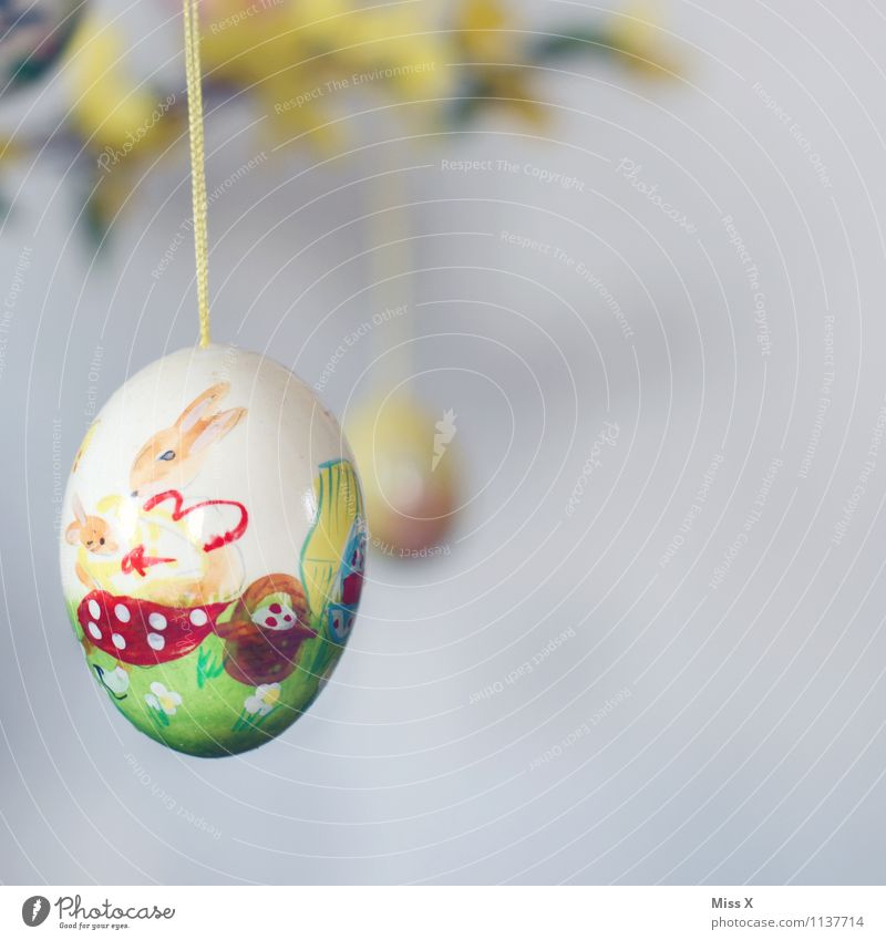 Colour Decoration Easter Kitsch Draw Hang Handicraft Painted Easter egg Easter Bunny Odds and ends Hen's egg