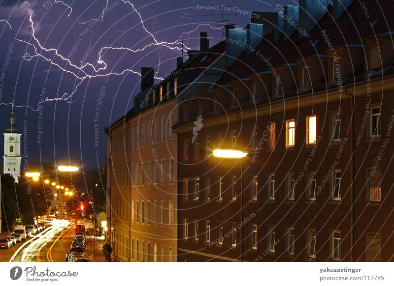 Gods Army Lightning Clouds Lantern Window Thunder Storm clouds Traffic light Long exposure Thunder and lightning Pfeuferstrasse streaks Rain Street