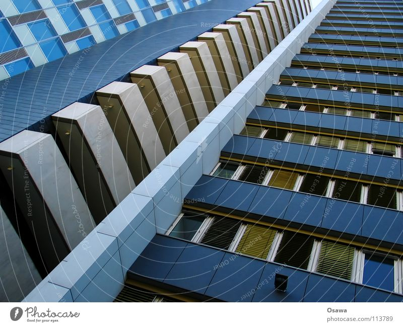 House (Residential Structure) Window Building High-rise Tall Facade Perspective Balcony Story Boredom Grid Office building