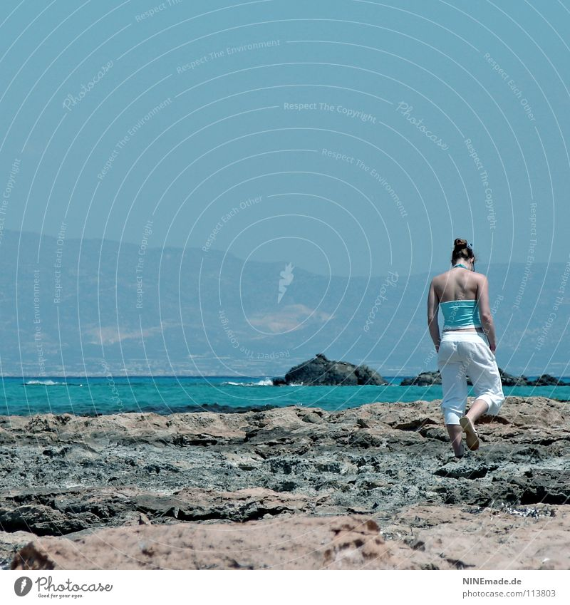 Woman Human being Sky Water Blue White Vacation & Travel Ocean Beach Calm Loneliness Emotions Gray Stone Contentment Going