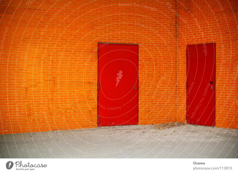 Red House (Residential Structure) Wall (building) Wall (barrier) 2 Orange Door Corner In pairs Tile Entrance Way out Neighbor Appealing Side by side