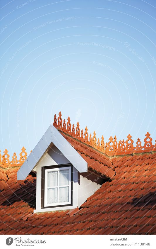 Skylight. Art Esthetic Roof Gable Roofing tile Attic story Window House (Residential Structure) Blue sky Colour photo Subdued colour Exterior shot Detail