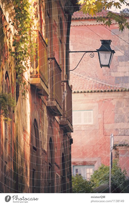 rose-coloured. Art Esthetic Street lighting Pink Dreamily Idyll Romance Alley Mediterranean Facade Colour photo Subdued colour Exterior shot Detail Experimental