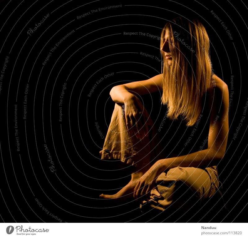 Woman Relaxation Dark Warmth Laughter Contentment Blonde Sit Glittering Large Table Safety Gloomy Break Corner Point