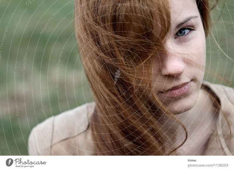 Human being Youth (Young adults) Beautiful Young woman Feminine Wait Observe Jacket Long-haired Red-haired Skeptical