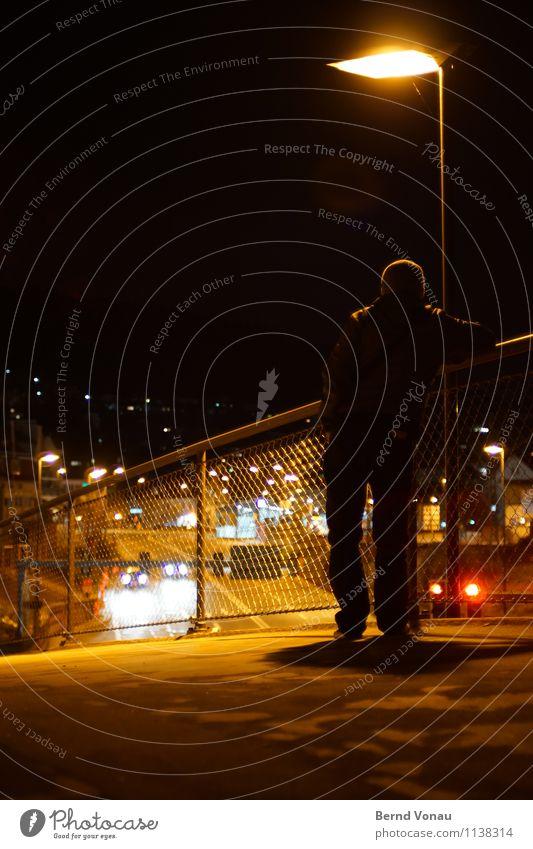 Human being Man City Dark Adults Street Lamp Masculine Car Transport Stand 45 - 60 years Back Vantage point Bridge Street lighting