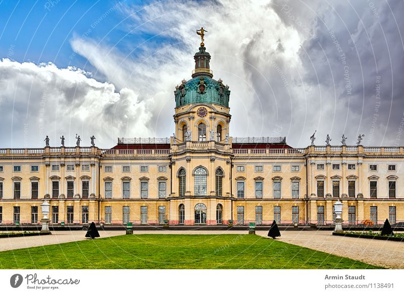 Charlottenburg Palace Style Design Architecture Air Sky Clouds Spring Summer Beautiful weather Storm Meadow Berlin Deserted Castle Park Manmade structures