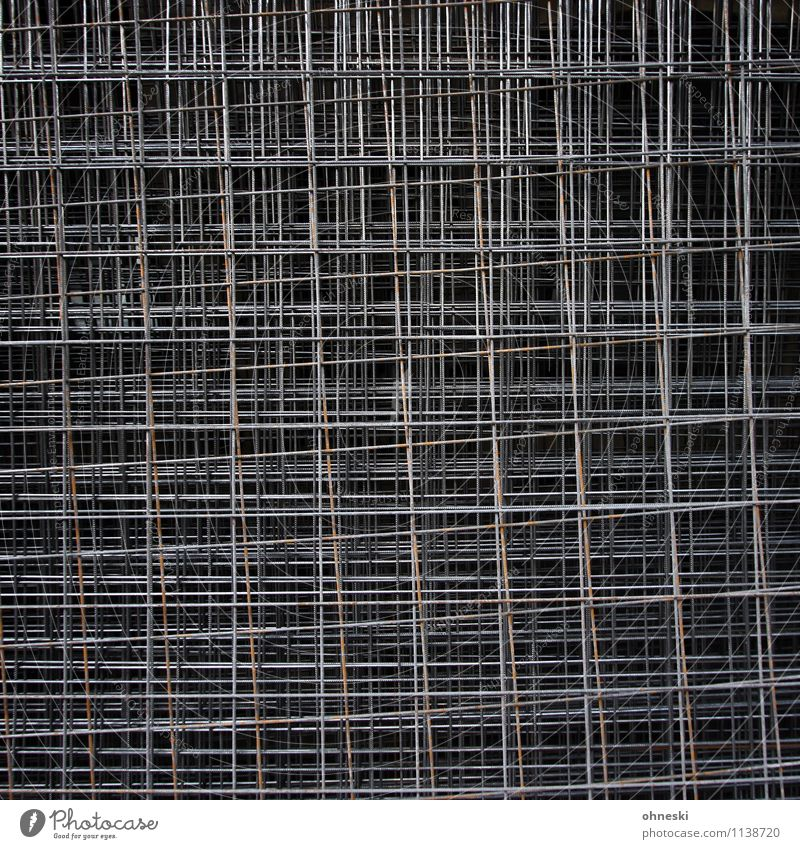 latticed Craft (trade) Construction site Grating Mesh grid Metal Steel Line Dark Irritation Barrier Colour photo Subdued colour Exterior shot Abstract Pattern