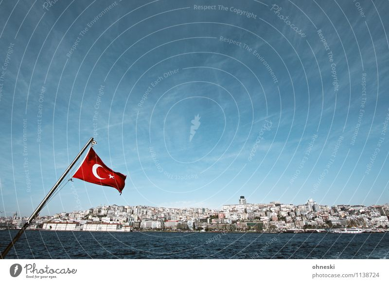 bosporus Water Cloudless sky Beautiful weather Coast Ocean Sea of Marmara Istanbul Turkey Town Port City Populated House (Residential Structure) Flag