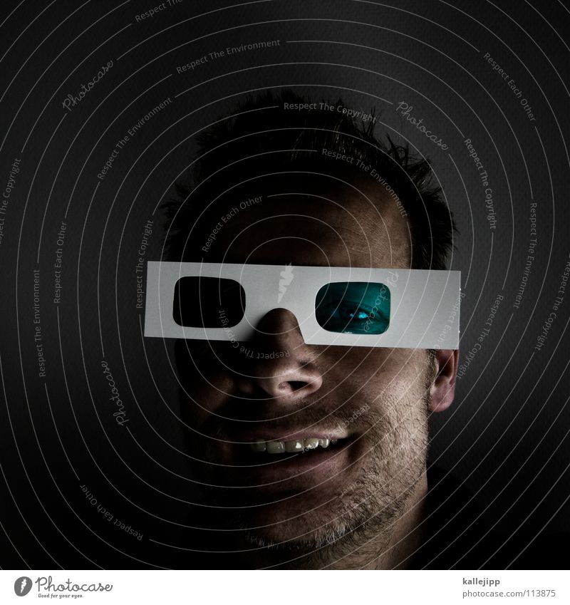 Human being Man Face Crazy Closed Network New Cool (slang) Future Eyeglasses Television Education Information Mask Uniqueness