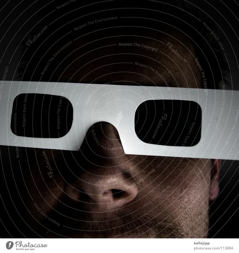 Human being Man Joy Face Closed Crazy New Future Network Cool (slang) Eyeglasses Uniqueness Television Mask Information