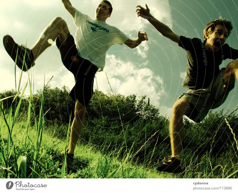 Human being Sky Man Nature Joy Summer Clouds Life Meadow Playing Freedom Emotions Jump Landscape Movement Laughter