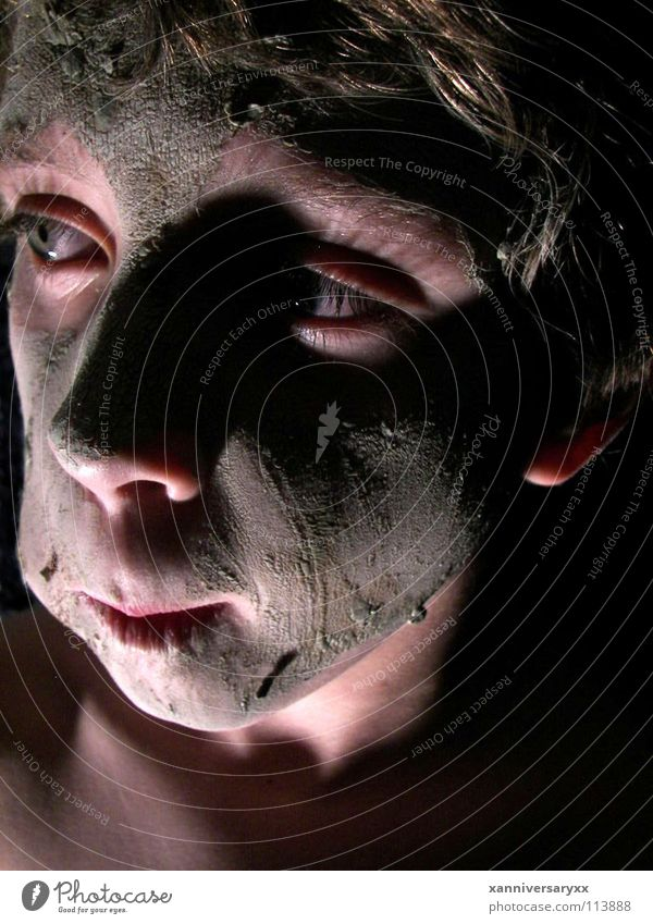 Tar and Feather Portrait photograph Human being mud dramatic lighting children face facial masks
