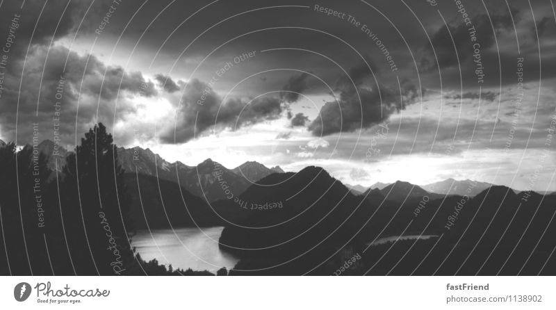 Behind the 7 mountains Landscape Elements Water Sky Clouds Storm clouds Gale Mountain Peak Lake Esthetic Adventure Bavaria Black & white photo Deserted Twilight