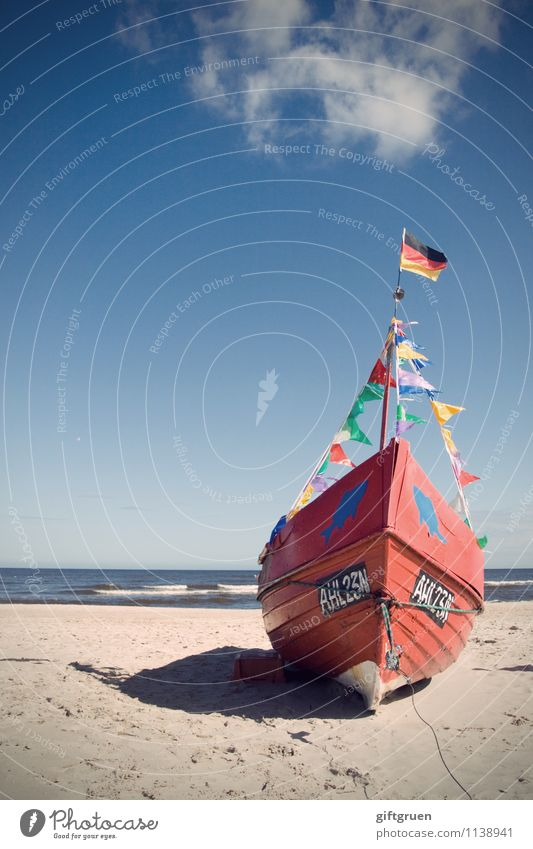 Sky Nature Water Landscape Red Ocean Clouds Beach Coast Germany Watercraft Work and employment Sand Waves Beautiful weather Digits and numbers