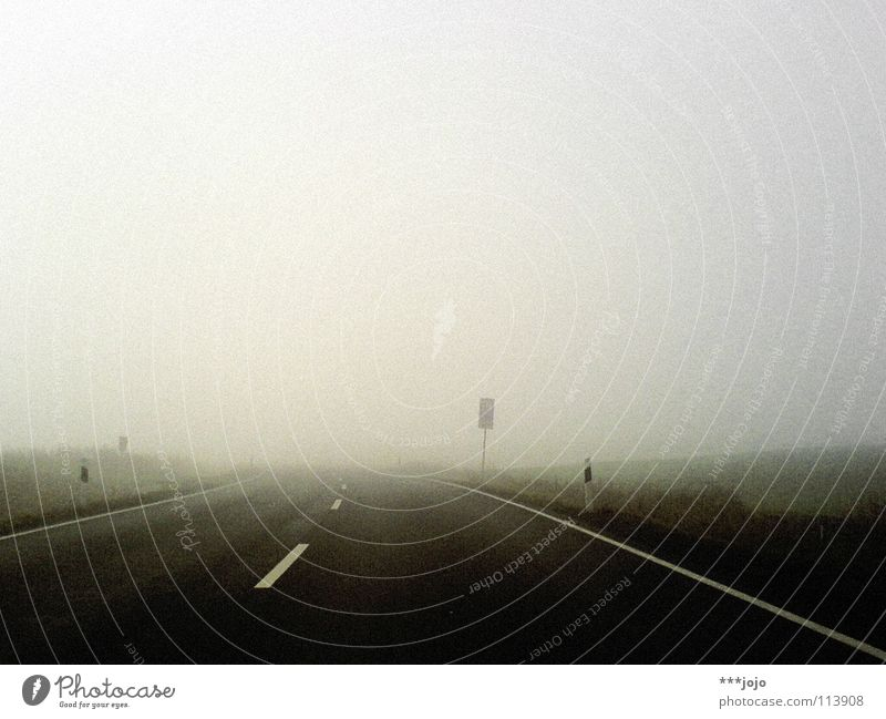 Sky Sun Winter Street Cold Movement Gray Fog Transport Perspective Driving Mobility Traffic infrastructure Damp Awareness Road sign