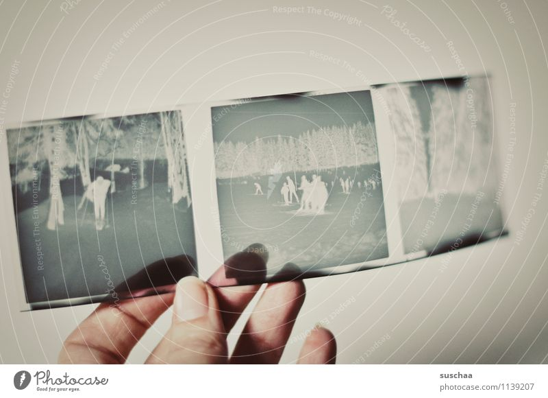 old negative III Analog Negative Hand Fingers Thumb Fingernail To hold on Transparent Memory Nostalgia family album Square