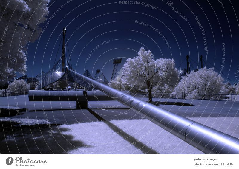 Sky White Tree Blue Meadow Lawn Munich Bavaria Infrared Infrared color