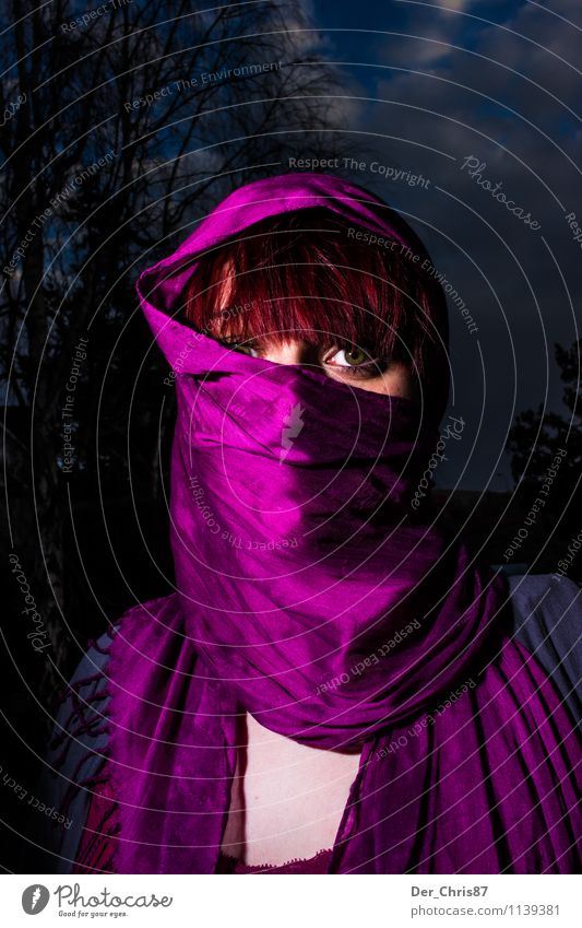 Masked at night Feminine Woman Adults 1 Human being Belly dance Scarf Headscarf Red-haired Short-haired Esthetic Threat Dark Beautiful Violet Bravery Secrecy