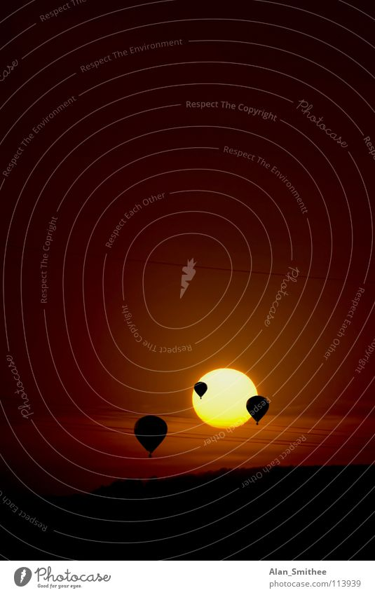into the sun Sunset Aviation Celestial bodies and the universe hot air balloon sundown. evening dawn flying Air landscape