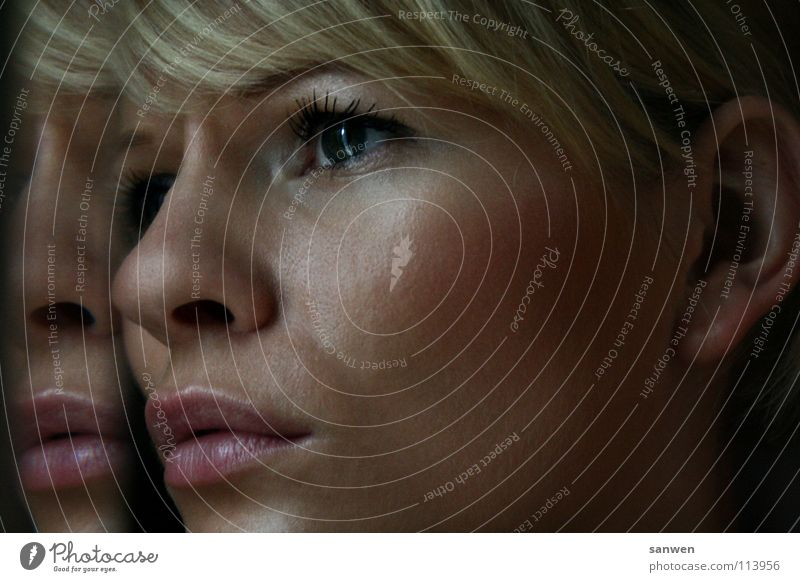 Woman Face Eyes Hair and hairstyles Sadness Fear Blonde Nose Grief Ear Target Education Lips Mirror Fatigue Freeze