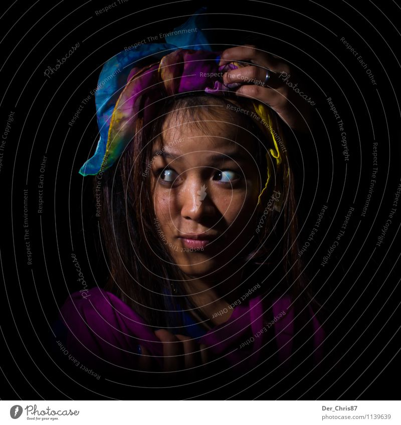 Human being Youth (Young adults) Young woman 18 - 30 years Adults Face Feminine Fear Curiosity Cloth Exotic Stage play Artist Shame Headscarf Inhibition