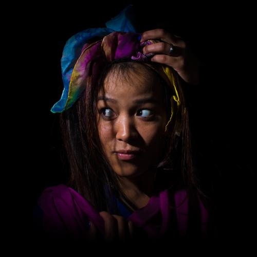 in the dark Feminine Young woman Youth (Young adults) Face 1 Human being 18 - 30 years Adults Artist Stage play Cloth Headscarf Exotic Curiosity Secrecy Shame