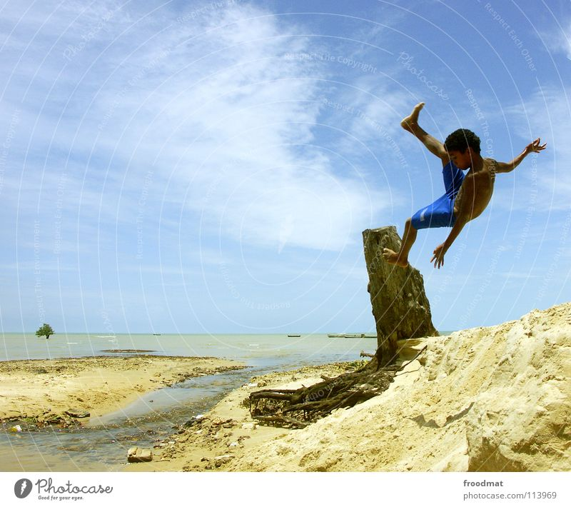 Child Sky Youth (Young adults) Vacation & Travel Tree Sun Summer Ocean Beach Joy Clouds Warmth Freedom Happy Sand Air