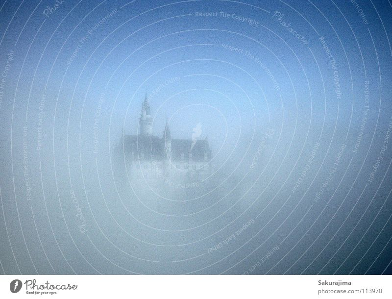 Neuschwanstein Castle Allgäu Bavaria Schwangau Fog Magic Fairy tale King Clouds Dream Dreamland Monarchy Expensive Blur Dark Progress Roof Window Rich Luxury