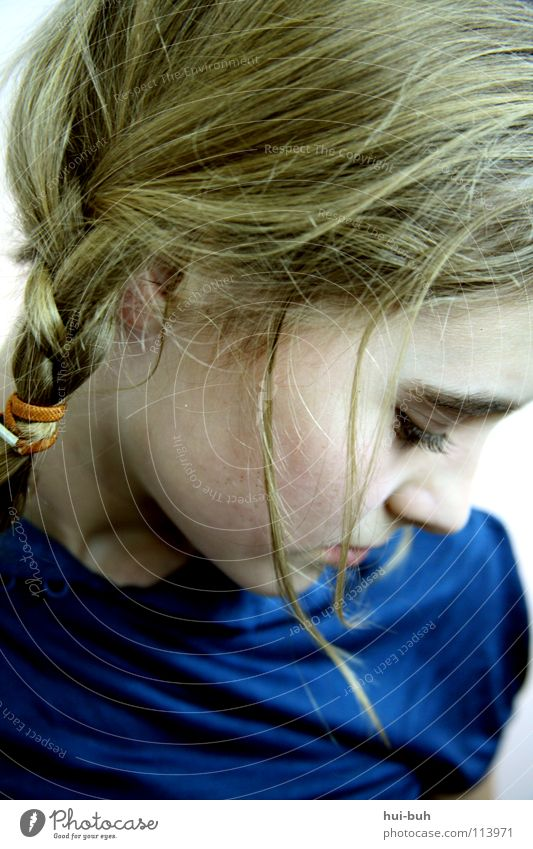 Beautiful Blue Face Loneliness Hair and hairstyles Sadness Fear Wait Blonde Grief Distress Expectation Cry Tears Fragile Braids