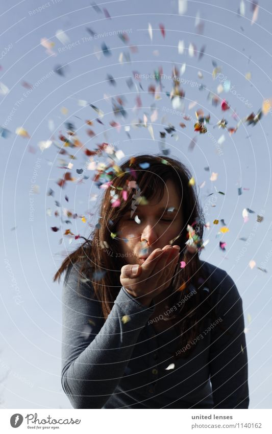Youth (Young adults) Young woman Joy Art Contentment Esthetic Creativity Many Carnival Confetti Fashioned Snippets
