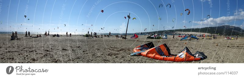 surfer's paradise Andalucia Tarifa Spain Atlantic Ocean Beach Kiting Sports Playing Kite Surfer Sail