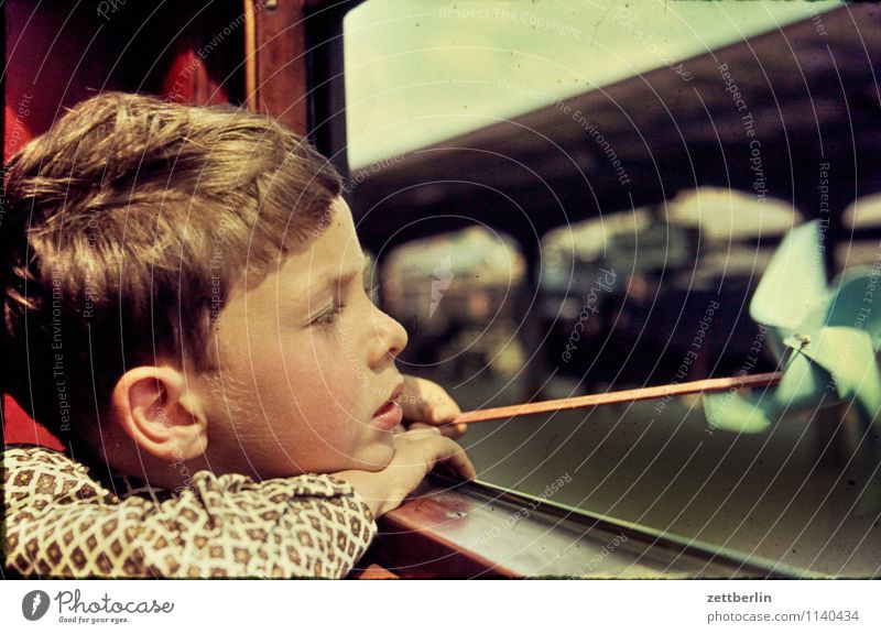 Lutz, Stralsund, 1966 Child Student Face Looking View from a window Vantage point Window Train window Railroad Vacation & Travel Travel photography Ear