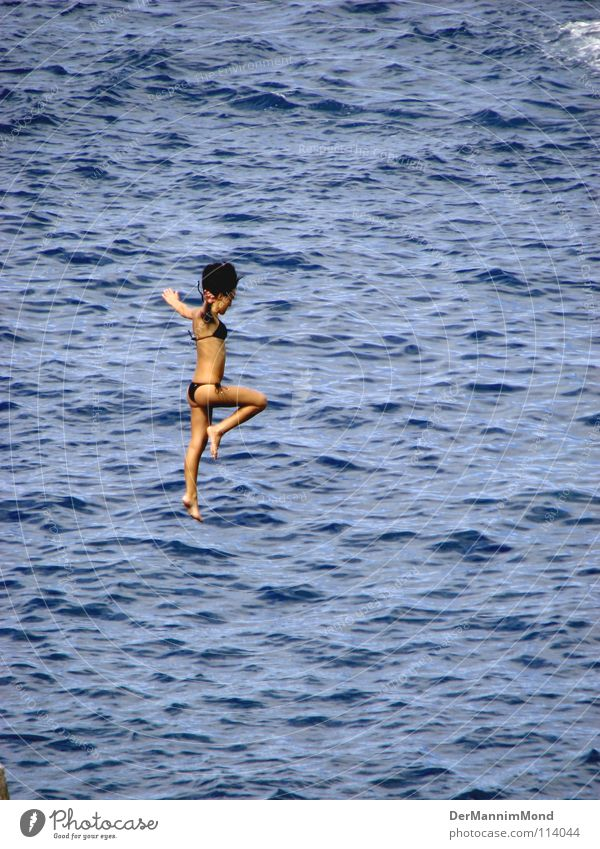 Woman Water Girl Ocean Sports Jump Playing Freedom Waves Arm Flying Tall Level Dive Brave