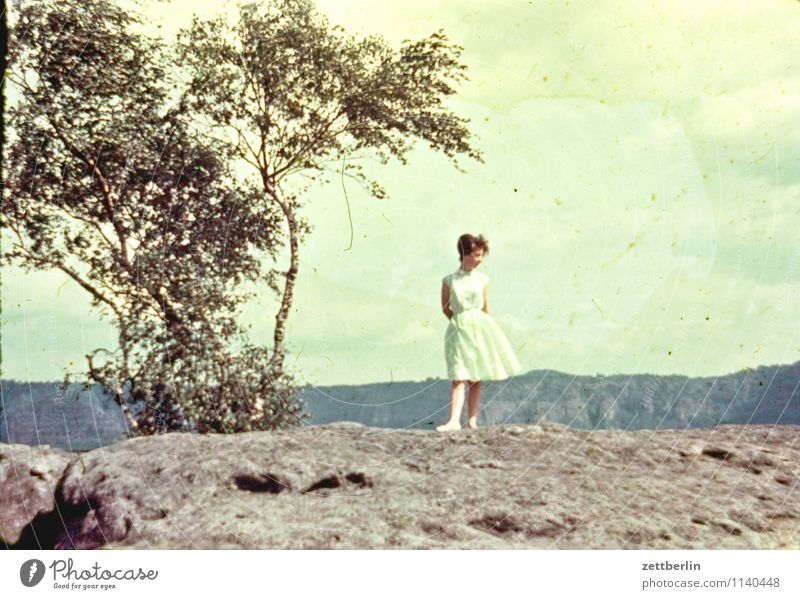 Ursel, Saxon Switzerland, 1958 Saxony Woman Young woman Hiking Vacation & Travel Past The fifties Sixties Human being Loneliness Individual Fashion Copy Space