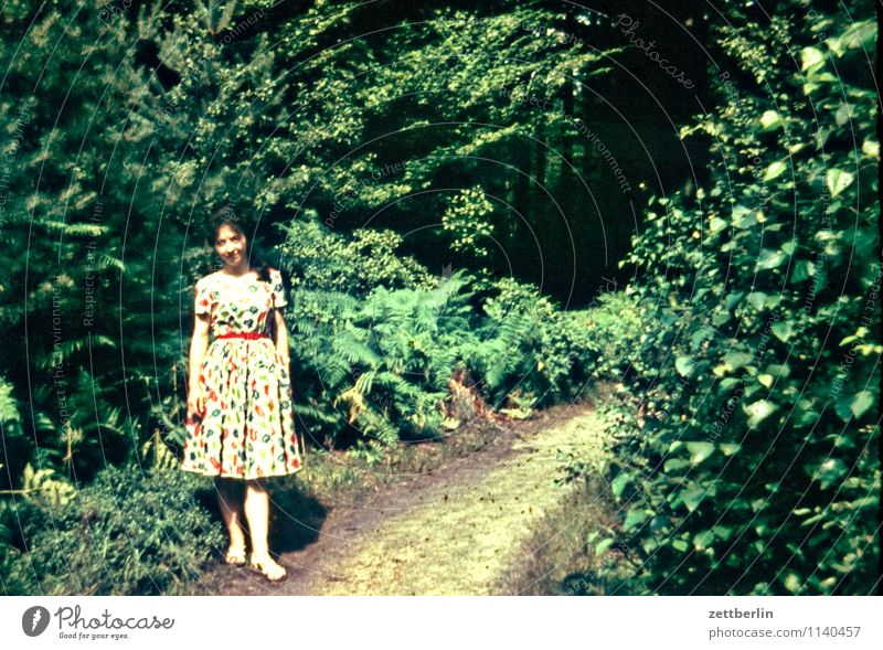 Ursel, 1958 Woman Young woman Hiking Vacation & Travel Past The fifties Sixties Human being Loneliness Individual Fashion Copy Space Landscape Forest Posture
