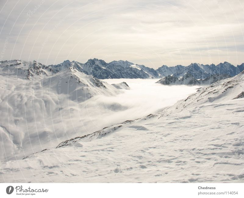 mist flow Fog Clouds Wool Absorbent cotton Canton Graubünden White Ocean Sea of fog Cold Peak Gray Wet Winter Switzerland Sky Mountain Snow River
