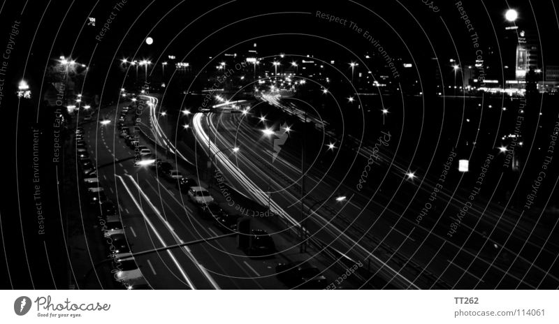Saarbrücken Highway Town Long exposure Downtown Night Dark Black & white photo Car