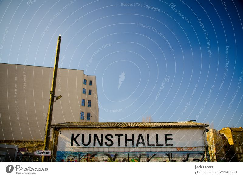 exit Kunsthalle Typography Art gallery Street art Cloudless sky Beautiful weather Downtown Berlin Depot Fire wall Signs and labeling Word Capital letter