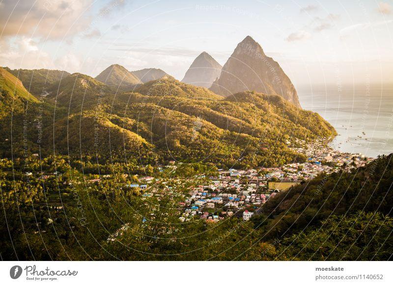 Pitons Saint Lucia Landscape Mountain Volcano Ocean Green St. Lucia Caribbean pitons soufriere Sunset Colour photo Subdued colour Exterior shot