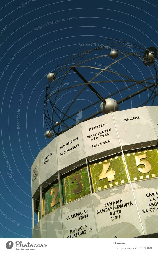 Sky Blue Berlin Earth 2 Art Time 3 Round Clock Digits and numbers 4 5 Landmark Planet