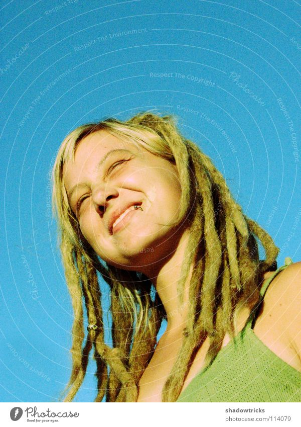 A smile for the sun Woman Dreadlocks Blonde Hair and hairstyles Reggae Style Alternative Portrait photograph Whim Good Happiness Human being Laughter funky Sky