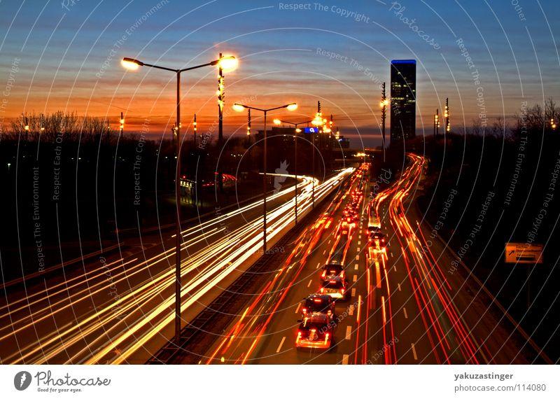 Blue Red Car Orange High-rise Climate Munich Lantern Transport Traffic jam Smog Bavaria Gas Vapor trail Ozone Freeway