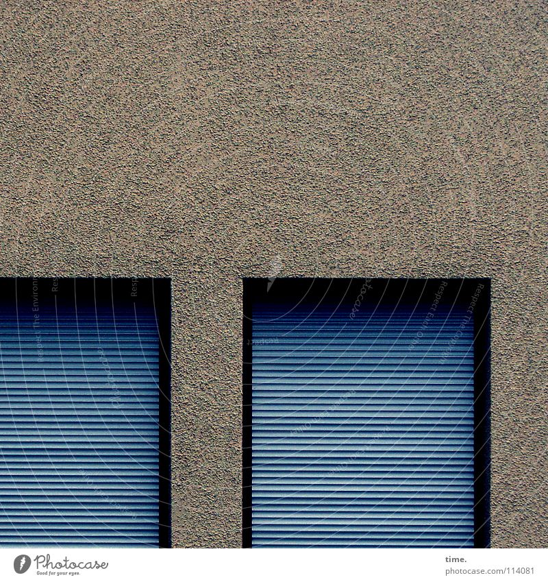 Blue Calm Window Wall (building) Wall (barrier) Facade Closed Safety Corner Simple Plaster Boredom Horizontal Disk Simplistic